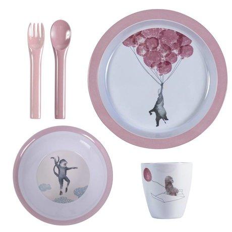 Sebra Kindergerichte in den Himmel rosa Melamin Satz von vier