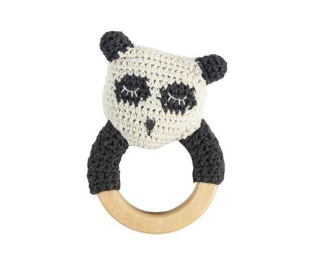 Sebra panda Rattle bois coton blanc 13x8cm