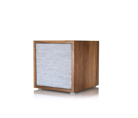 Tivoli Audio Speaker Cube bruin grijs hout stof 11,7x11x11cm