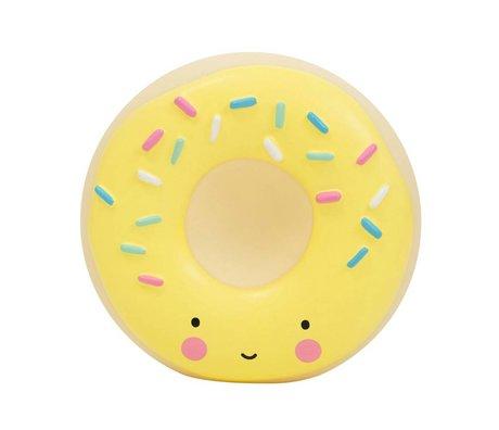 A Little Lovely Company Tirelire Donut 14x6x14,5cm en plastique jaune