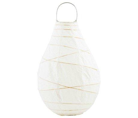 Housedoctor lanterne Drop métal bambou papier blanc XL Ø24x35cm