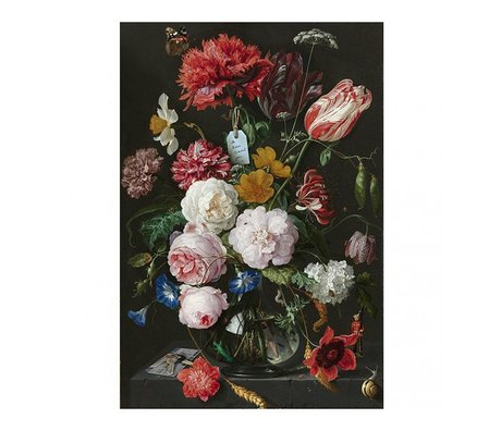 Arty Shock Tableau Jan Davidsz de Heem - Nature morte avec des fleurs dans un vase en verre XL en plexiglas multicolore 150x225cm