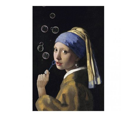Arty Shock Painting Vermeer - Girl with a Pearl Earring - The bubble edition L multicolor plexiglass 100x150cm
