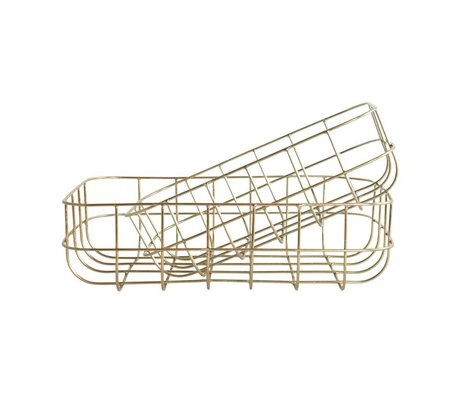 Housedoctor Wire baskets Simply gold iron set of two 16x24x8cm / 20x28x8cm