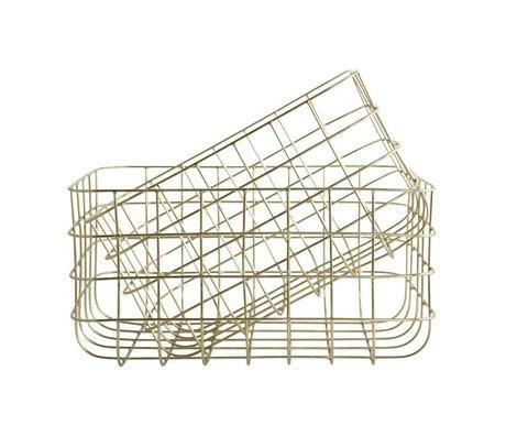 Housedoctor Paniers en fil de fer jeu simplement l'or de deux 20x28x16cm / 24x32x16cm