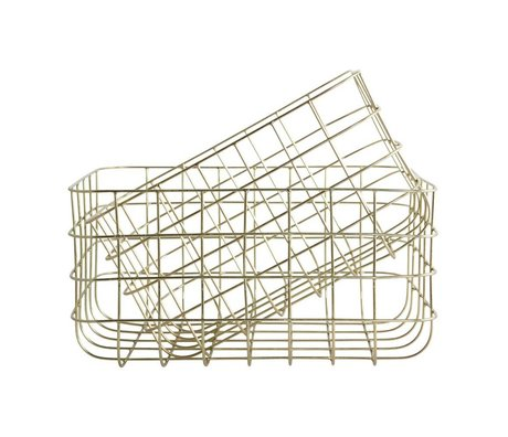 Housedoctor Wire baskets Simply gold iron set of two 20x28x16cm / 24x32x16cm