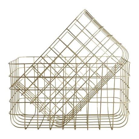 Housedoctor Drahtkörbe einfach Gold Eisen Satz von zwei 24x32x20cm / 28x36x20cm