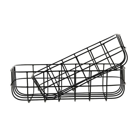 Housedoctor Paniers en fil de fer jeu simplement noir de deux 16x24x8cm / 20x28x8cm