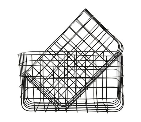 Housedoctor Wire baskets Simply black iron set of two 24x32x20cm / 28x36x20cm