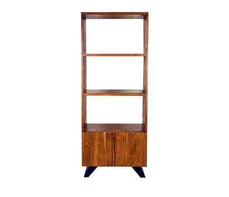 LEF collections Boekenkast Temba bruin hout metaal 70x45x175cm