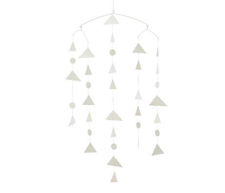 Madam Stoltz Mobiel Triangle wit papier 27x20x100cm
