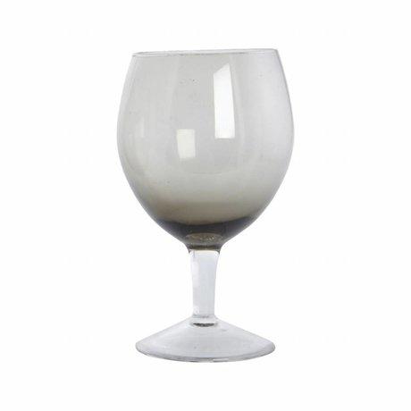 Housedoctor Weinglas-Kugel-graues Glas, h: 17 cm