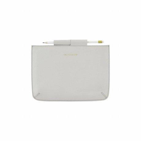 Housedoctor Abdeckung Ipad Mini grau Leder / Baumwolle 24x17cm