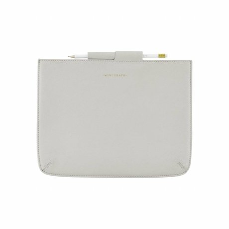 Housedoctor Cover Case gray leather / cotton 29x22cm