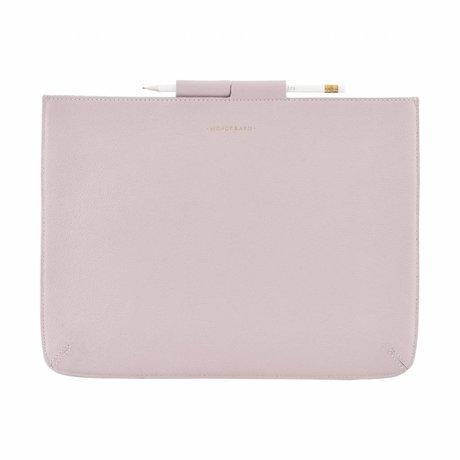 Housedoctor Cover Ipad Pro roze leer/katoen 35,5x26,5cm
