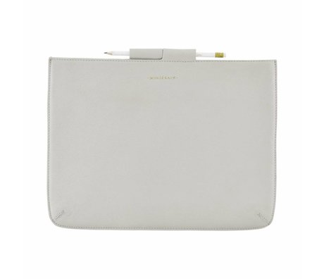 Housedoctor Cover Ipad Pro Gray Leather / Cotton 35,5x26,5cm