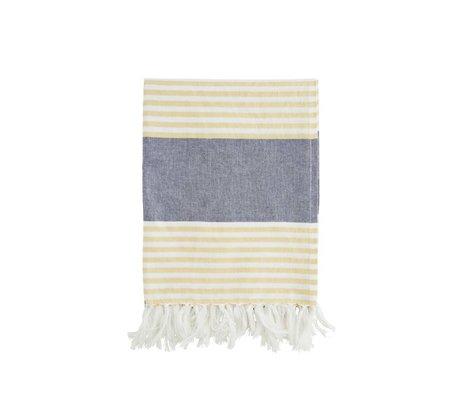 Madam Stoltz Handtuch gelb weiß gestreiften blauen Baumwolle 100x170cm