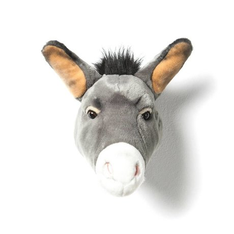 Wild and Soft Animal head donkey Francis gray textile 44x59x25cm