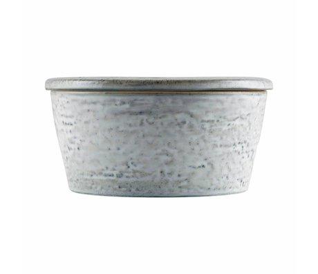 Housedoctor Plateau de rangement gris bleu rustique ø14x7cm céramique