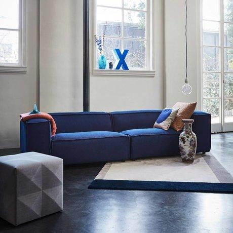 FÉST Sofa Dunbar 3-Sitzer dunkelblau Streusel Papagei 302x103cm