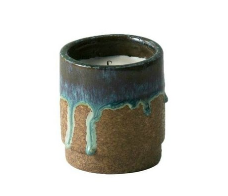 Ferm Living Scented Candle Running blue ceramic soy wax ø9x10cm