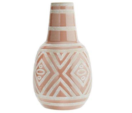 Madam Stoltz Vase pâle céramique blanche rose Ø20x34cm