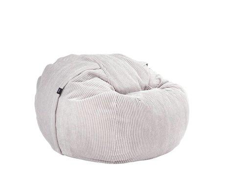 Vetsak Beanbag Cord Velour einzige Platin gerippte velvet Ø110x70cm 600 Liter