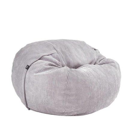 Vetsak Beanbag Cord Velour einzigen Grau gerippten velvet Ø110x70cm 600 Liter