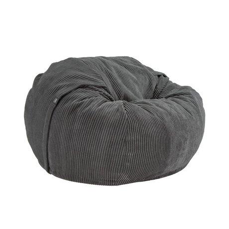 Vetsak Zitzak Cord velours single dark gray ribbed velvet Ø110x70cm 600 liters