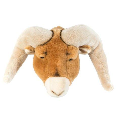 Wild and Soft Dierenkop ram Anthony bruin textiel 37x45x30cm