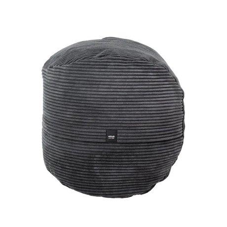 Vetsak Footstool Cord velours dark gray ribbed velvet Ø60x60cm 100 liters