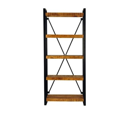 LEF collections Bookcase brussels brown black wood metal 80x45x185cm