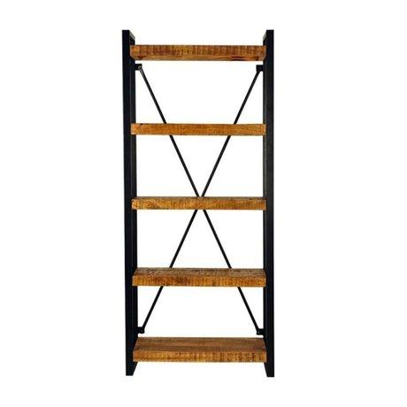 LEF collections Boekenkast brussels bruin zwart hout metaal 80x45x185cm