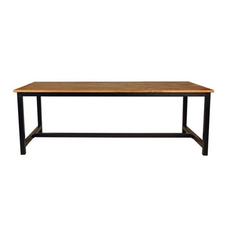 LEF collections Dining table Ghent brown black wood metal in 2 sizes