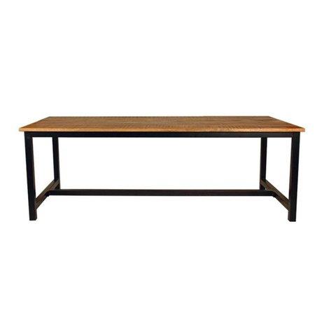 LEF collections Table à manger Gand marron noir bois métal en 2 tailles