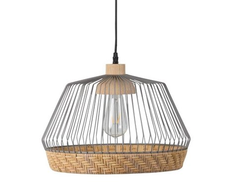Zuiver Hanging lamp Birdy wide, metallic gray Ø31x27x150cm