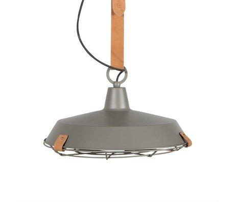 Zuiver Pont 40 métal gris lumière pendante cuir marron Ø40x18cm