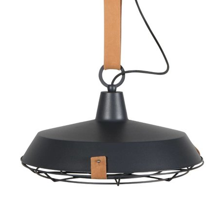 Zuiver Pendant Lamp Cover 40 anthracite metallic brown leather Ø40x18cm
