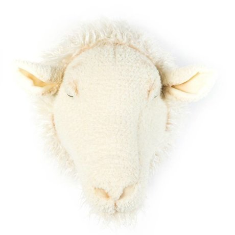 Wild and Soft Dierenkop schaap Harry wit textiel 29x25x28cm