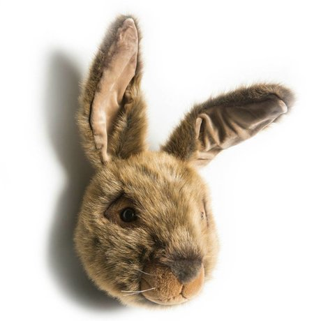 Wild and Soft Animal head hare Lewis brown textile 30x35x45cm