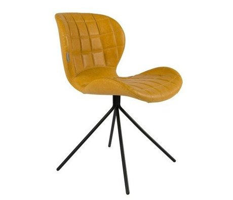 Zuiver Dining chair OMG LL yellow imitation leather 51x56x80cm