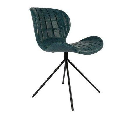 Zuiver Chaise de salle OMG LL essence en cuir imitation bleu 51x56x80cm