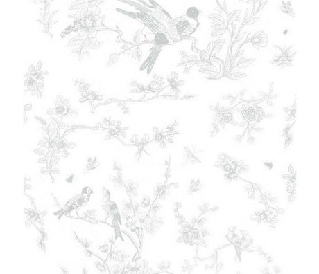 KEK Amsterdam Papier peint Oiseaux et fleurs en papier intissé gris 97,4x280cm