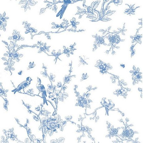 KEK Amsterdam Wallpaper Birds & Blossom Blue Fleece Paper 97.4x280cm