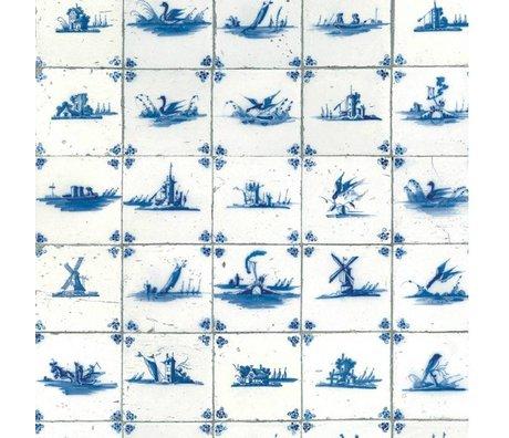 KEK Amsterdam Papier peint carreaux bleu roi papier intissé bleu 97,4x280cm