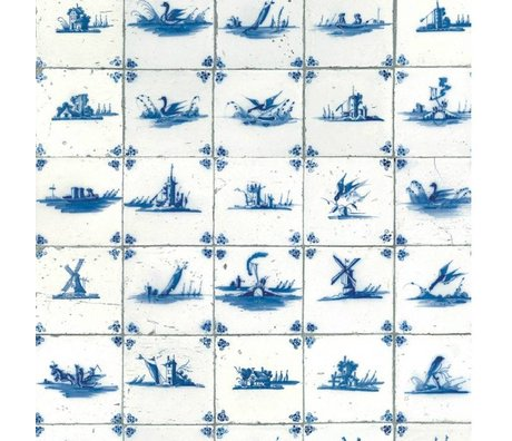 KEK Amsterdam Wallpaper Royal blue tiles blue non-woven paper 97,4x280cm