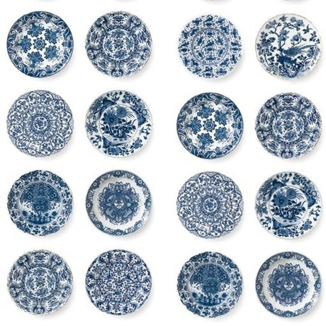 KEK Amsterdam Papier peint Assiettes bleu roi papier intissé bleu 97,4x280cm