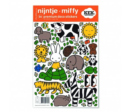 KEK Amsterdam Muursticker Nijntje dierenvriendjes multicolour vinylfolie S 21x33cm