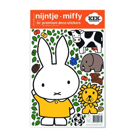 KEK Amsterdam Wall sticker Miffy yellow dress multicolor vinyl foil S 21x33cm