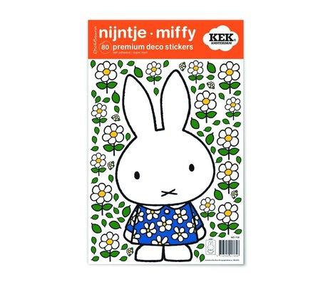 KEK Amsterdam Wall Sticker Miffy robe à fleurs multicouleurs feuille de vinyle S 21x33cm